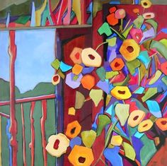 In Full Bloom, contemporary abstract painting with flowers, painting by artist Carolee Clark