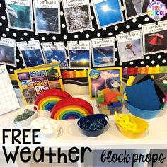 Weather themed STEM I Can Build Challenges for the science, STEM, or blocks center.FREE Weather themed STEM I Can Build Challenges for the science, STEM, or blocks center. Block Center Preschool, Science Center Preschool, Science Area, Weather Science, Weather Unit, Science Centers, Summer Science, Science Fun, Physical Science