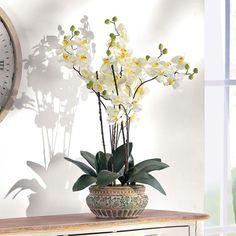 Kunstpflanze Orchideentopf, Kunststoff/ Keramik ca. H58 cm