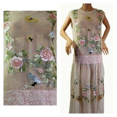 1920s Tea Dress with Ribbon Embroidery Butterflies, Birds, Flowers, Filet Lace. Labelled. Perfect for a Vintage Bride. Excellent condition.