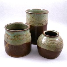 Stoneware containers glazed in Antique Brown and Sage Green - Crooked Creek Studio