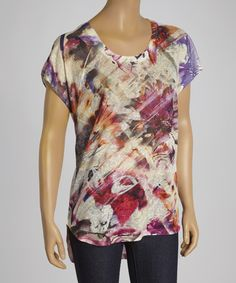 Look at this #zulilyfind! White Abstract Floral Scoop Neck Top by Seven7 #zulilyfinds