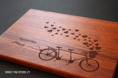 Bicycle Built For Two Personalized Wood Cutting Board