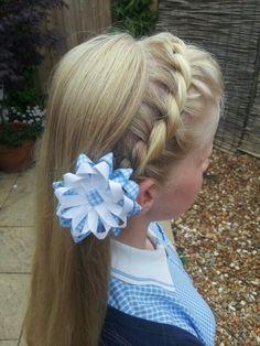 Gingham flower clip in a twist rope hair braid ♥