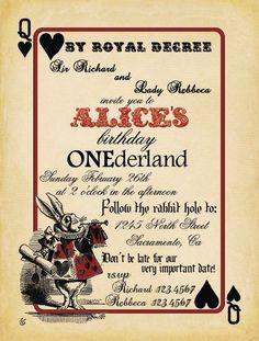 Resultado de imagen para alice in wonderland invitation