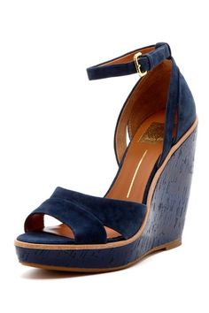 Paiva Wedge Sandal in Navy Suede | Dolce Vita