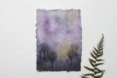 Trees in the mist - Original watercolour painting