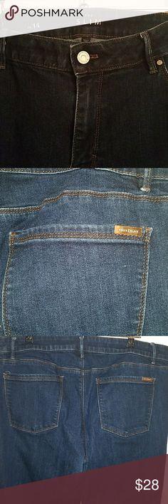 White House Black Market Blue Jeans size 14 Slim size 14 WHITE HOUSE BLACK MARKET blue jeans 4 pockets in great shape.  A little worn in the inner legs,  lots of life left. White House Black Market Jeans Boot Cut