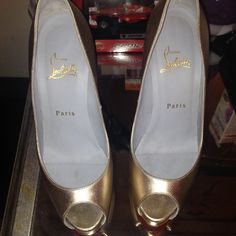 Christian Louboutin Gold Peep Toe Very Prive- 38.5 Worn once! Brand new 2014 Gold Christian Louboutin Vendome. These are a beautiful gold going out shoe- they are slightly too small for me (they are a 38.5 which will fit a 7.5 or 8)and that's why I'm selling them. They are in near perfect condition with very slight wear on them. The soles can be like new once a red protective sole is applied (at any local shoe repair) and there is a small scratch as pictured. My loss is your gain! I have…