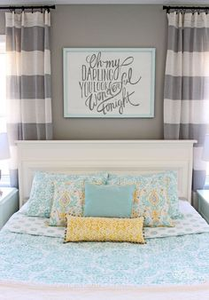 15 Gorgeous Grey, Turquoise and Yellow Bedroom Designs | Bedroom ...