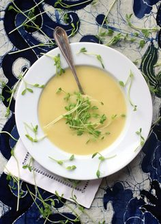 Leek and Potato Soup with Spring Pea Shoots.  So easy to make, and super healthy too!  It's naturally gluten-free, and can be made vegan by subbing the butter with a vegan spread instead.