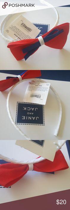 NWT Janie and Jack Baby Girls Large Holiday Red Bow Headband Sizes 3 6 12 18 24