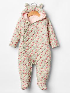 Floral quilted bear one-piece