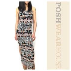 "Tribal Print Dual Split Tank Maxi Dress Pullover application • Material is extremely soft and feels great to the touch on the skin • Great stretch • Length "" • Side split length 20"" • Bust "" • Waist "" • Hips up to "" • Polyester & Spandex.   Like what you see? Follow me!  On PM @PoshWearHouse  On IG www.instagram.com/PoshWearHouse  On FB www.facebook.com/PoshWearhouse Dresses Maxi"