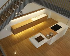 Interior design putting a kitchen under the stairs from Holzrausch Kitchen Under Stairs, Bathroom Under Stairs, Kitchen Design Open, Interior Design Kitchen, Open Kitchen, Interior Stairs, Interior Exterior, Beautiful Stairs, Basement Layout
