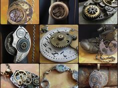 Beautiful one of a kind steampunk jewelry designs using vintage watch parts, I create cufflinks, necklaces, earrings, rings, and more..