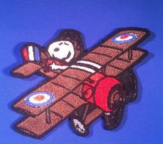 """Peanuts SNOOPY Red Baron//FLYING ACE 3/"""" TALL Embroidered SEWN//IRON PATCH"""