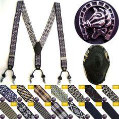 Mens Faux Leather Elastic Suspenders Tuxedo Gentleman 6 Clip Emblem Braces Belt #followthehappiness