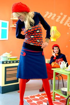 RETRO-60IES ROCK 'JEANNY' IN BLAU-ROT - RÖCKE by Bonnie-and-Buttermilk - Midi Skirts - Skirts - DaWanda