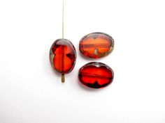 ova0047 Red Picasso Oval Czech Glass Beads