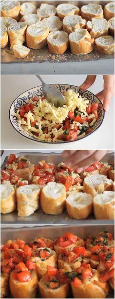 Bruschettas de Tomate.são perfeitas para receber os amigos em casa ou servir de entrada em um jantar. #bruschettas #tomate #receita #gastronomia #culinaria #comida #delicia #receitafacil