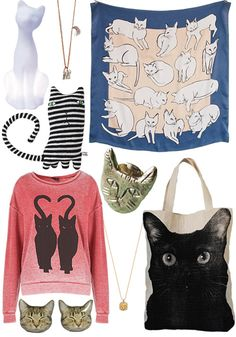 Kitty accessories! I want the black cat bag. The cat looks just like my cat who died a few weeks ago.