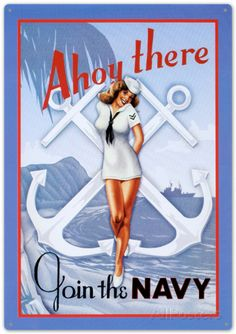 Ahoy There Join The Navy Sailor Sexy Girl Plaque en métal sur AllPosters.fr