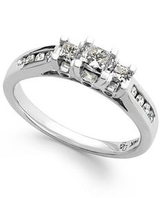 Diamond Three-Stone Ring in 14k White Gold (1/2 ct. t.w.) - Rings - Jewelry & Watches - Macy's $582 web id: 1346364