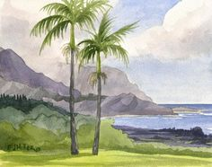 Hanalei Kauai Beach Art Print - Bali Hai from Princeville Kauai watercolor painting Hawaii art Haw Beach Watercolor, Watercolor Trees, Watercolor Landscape, Watercolor Paintings, Canvas Paintings, Bird Paintings, Indian Paintings, Watercolor Portraits, Abstract Paintings