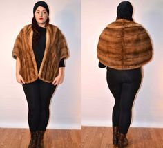 1940s 1950s sz medium/large autumn haze mink fur cape USA MADE FauxyFurr Vintage