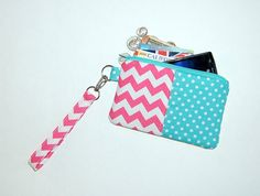 Chevron Pink and Aqua Polka Dots - Wristlet Purse with Removable Strap and Interior Pocket