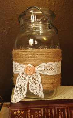 Vintage Twine and Lace Wrapped Mason Jar by ItsLittleBits on Etsy