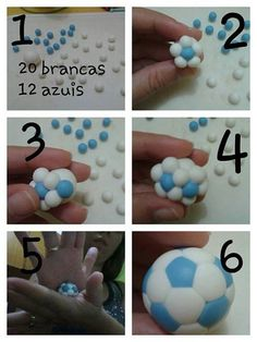how to make an easy soccer ball from fimo. (Fondant) you could make birthday party favors in your team colors. I wonder if this would work with fondant to make cupcake toppers? Seems like it would work. any body tried this - let us know. Fondant Toppers, Fondant Cakes, Cupcake Cakes, Cupcake Toppers, Rose Cupcake, Cake Decorating Techniques, Cake Decorating Tutorials, Cookie Decorating, Decorating Ideas