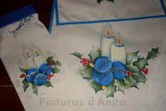 Pinturas d'anita - pintura em tecido: conjunto de natal em tons de azul (nº 227)