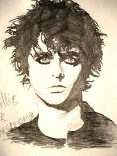 Someone made this sketch of Billie Joe Armstrong .. Green Day .. I love it!!