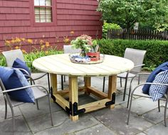 One of the easiest ways to dress up a backyard patio is with a stylish round dining table. DIYer Jaime Costiglio designed the plans for this table using our Outdoor Accents® decorative hardware.