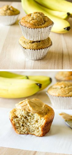 Banana Peanut Butter Oat Muffins - No flour or oil. Made with Greek Yogurt. #GF