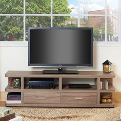 Furniture of America 2 Drawer Multi Storage TV Stand – modulares – Anime pictures to hairstyles Tv Stand Lights, Tv Stand Price, Entertainment Center Redo, Diy Tv Stand, Small Tv Stand, H Design, Tv Decor, Light Oak, Shelves