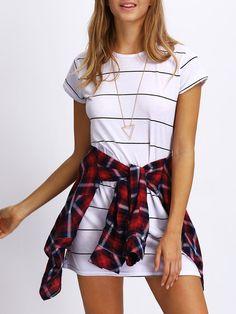 Shop Striped Mini T-shirt Dress online. SheIn offers Striped Mini T-shirt Dress & more to fit your fashionable needs.