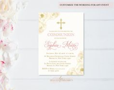 Ivory Communion Invitations | Pink Ivory Communion | Gold and Ivory Communion Ideas | Floral Communion Invitations | Communion Invitation Ideas | First Holy Communion