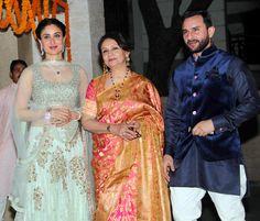 Such a regal family! Kareena Kapoor, Sharmila Tagore and Saif Ali Khan at Soha Ali Khan's wedding reception. Kareena wears Manish Malhotra lehenga.