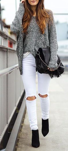Gray, White and Black Fall Streetstyle #omblineo