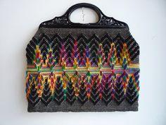 Black and Neon Knit Carpet Handbag by HawkandSparrowOnline on Etsy