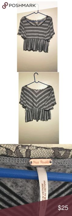 ✨Free People✨ Free People Ruffled Stripped crop top in black and grey‼️ FOR TODAY ONLY! I WILL LET YOU CHOOSE YOUR PRICE (I CAN COUNTER ) let's have some fun‼️ Free People Tops Crop Tops