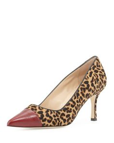 Bipunta Calf Hair Cap-Toe Pump, Leopard by Manolo Blahnik at Neiman Marcus.