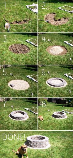 DIY Fire-pit @ Heavenly HomesHeavenly Homes you could build seats around it using the same stone blocks as a base.