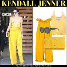 Kendall Jenner in yellow silk cami and yellow pants what she wore streetstyle march 2017 , Kendall Jenner in yellow camisole and yellow pants in Los Angeles on March 15 , WHO: Kendall Jenner in Los Angeles on March 15 2017WHAT SHE WORE: Kendall wore yellow silk camisole from Gucci, yellow paperbag pants from Kendall + Kylie, yellow leather Chanel clutch and blue Celine sunglassesBUY:CAMISOLE:...