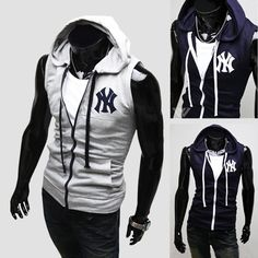 Autumn vest male with a hood fashion slim ny knitted vest m04