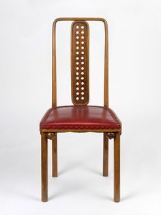 Josef Hoffmann; Beech and Leather Sidechair for Purkersdorf Sanatorium, 1904.