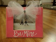 Valentine's Frame with tulle bow by katieruebel on Etsy, $35.00